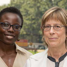 "Omonigho ""Omo"" Aisagbonhi, MD, PhD, (left), and Drucilla Roberts, MD, hope to improve breast cancer diagnosis and care in Uganda."