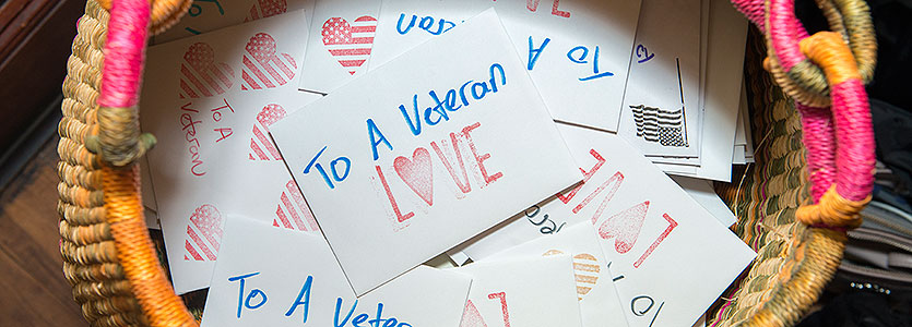 A basket of Valentine's Day cards made by Mass General staffers for veterans at area VA hospitals.