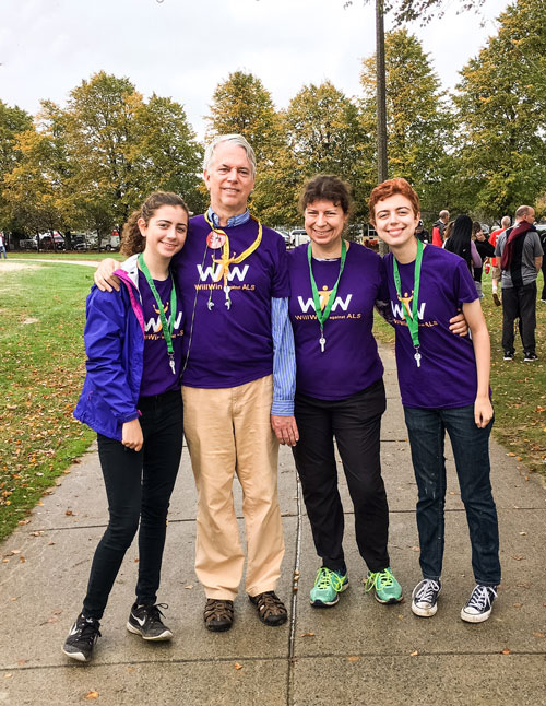 From left, Hannah, Stephen, Jane and Casey participated in Walk to Defeat ALS in Boston, in 2016.
