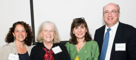 Celebrating the Anne B. Young, MD, PhD, Endowed Chair in Neurodegenerative Disease are, from left, Drs. Merit Cudkowicz, Anne Young, Teresa Gomez-Isla and Peter Slavin