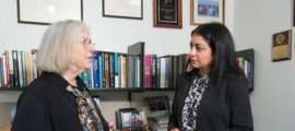Huntington's disease researchers Anne Young, MD, PhD, (left) and Ghazaleh Sadri-Vakili, PhD, confer.