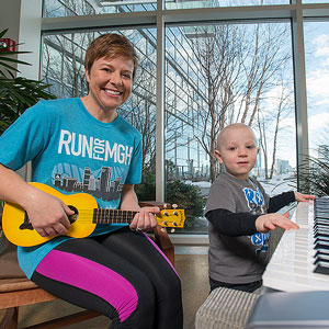 Tarrah Zedower's son, Caden, has blossomed into an enthusiastic musician thanks to Mass General's music therapy program.