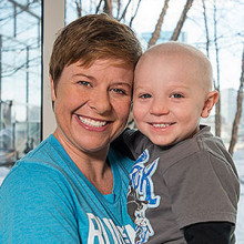 "Running the 2015 Boston Marathon for Mass General's pediatric cancer team, Tarrah Zedower says Mass General has been a ""safe haven"" during her son Caden's cancer treatments."