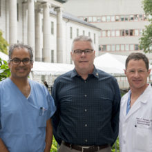 Pictured, from the left, are Aman Patel, MD;  Brian Snell and James Rabinov, MD. Drs. Patel and Rabinov treated Mr. Snell at Mass General after he suffered a brain aneurysm.