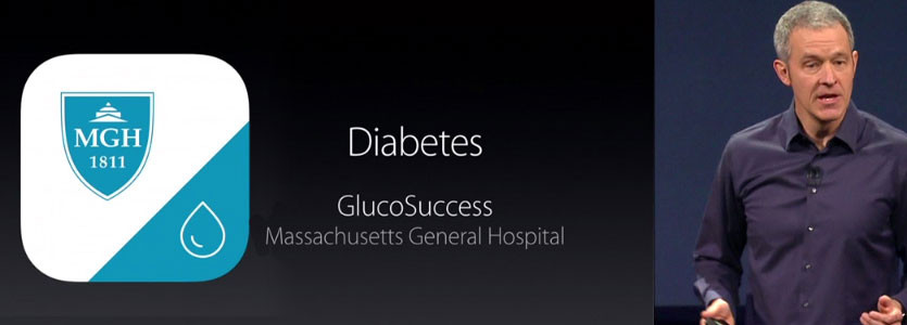 GlucoSuccess, a diabetes iPhone app created by a Mass General team, was unveiled by Jeff Williams, Apple's senior vice president of operations, on March 9 in San Francisco, at the same event where the new Apple Watch was unveiled.