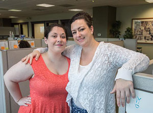 At ISG, Aspire intern Amanda Murphy (left) works with supervisor Cassandra Manning, who says she has fit right in.