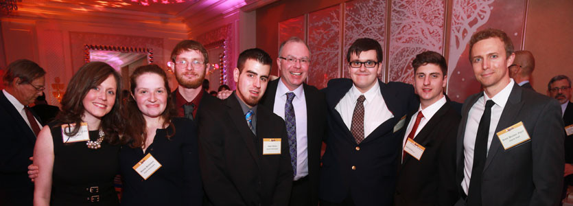Attendees at the 2015 Aspire Spring Gala included, from left, Leslie O'Brien, LICSW, Aspire Internship Program Manager; Aspire interns Marisa Michelson, Nathaniel Lathrop, Jake Peters; Scott McLeod, PhD, executive director of Aspire; Aspire interns Michael Alejunas and Michael McEleney; Brett Mulder, PsyD, program manager of Teen and Adult Services