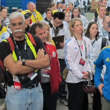 Aaron Baggish, MD, (in blue) and the Boston Athletic Association medical staff at the 2014 Boston Marathon. (Photo by Mickey Goldin)