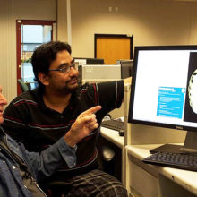 Martinos Center researchers (from left) David Cohen, PhD,  and Sheraz Khan, PhD