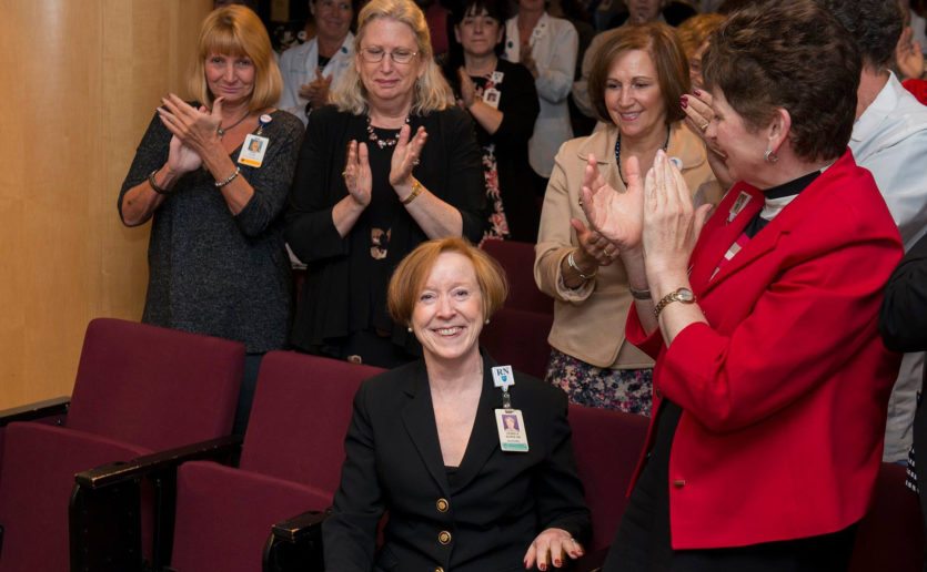 Colleagues celebrate the appointment of Debra Burke, RN, DNP, MBA, NEA-BC, as Mass General's senior vice president for Patient Care Services.