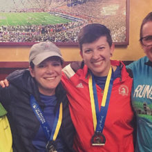 Celebrating after last year's Boston Marathon®: Marissa Capua (red shirt) and her aunt Julie Sgroi, who also ran on the ER team last year, flanked by Marissa's parents, Joseph and Ellen Capua.