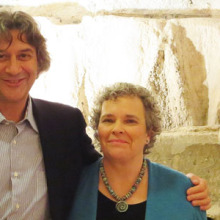 Dr. Alessio Fasano (left) and Susie Flaherty, pictured at the European Biomedical Research Institute of Salerno (EBRIS) in front of the remains of the ancient thermal baths.