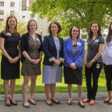 Pictured, from left, are Nancy Rigotti, MD, director of the Center for Faculty Development; Kori Zachrison, MD, MSc; Laura Dichtel, MD, MHS; Kimberly Blumenthal, MD, MSc; Anne Klibanski, MD, chief of Neuroendicrinology and Partners HealthCare chief academic officer; Jenna Galloway, PhD; Karen Nanji, MD, MPH; and Emily Hyle, MD, MSc.