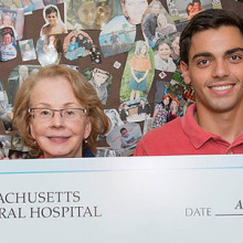 Pictured from left, Angelo Mancino, Denise Faustman, MD, PhD, Michael Mancino, and Rosemary Mancino. Michael Mancino has been raising funds for Dr. Faustman's type 1 diabetes research at Mass General. Angelo and Rosemary Mancino are his parents.