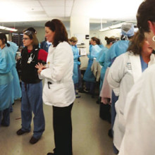 Staffers throughout Mass General knew what to do after the Boston Marathon bombing. Some doctors, nurses and technicians rushed to join or support colleagues already in the Emergency Department. Other hospital workers began readying extra gurneys, medical supplies and coolers full of bagged blood. (photo by John Herman, MD)