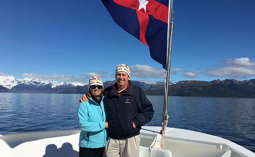 Grateful for his own experience with early cancer detection, David Elwell is back to enjoying life again with his wife Christy, pictured here on their adventure to Patagonia.