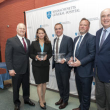 Celebrating the inaugural incumbents to two endowed positions are, from left, Dr. David Brown, Dr. Wendy Macías-Konstantopoulos, Tom Crohan, Dr. Paul Biddinger, Dr. Peter Slavin
