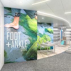 The new outpatient orthopaedic facility in Waltham will have a convenient retail store specializing in medically necessary foot and ankle products.