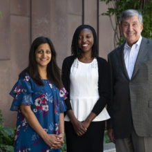 From the left, Aparna Parikh, MD; Irene Alinafe Chidothe, MD and Bruce Chabner, MD