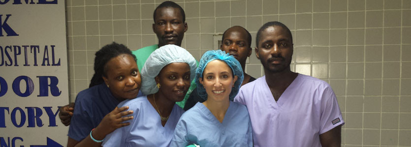 Johanna Riesel, MD, general surgery resident, with medical students in Liberia.