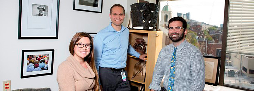 From left, Jessica Moreno, PharmD, Kristian Olson, MD and Benjamin Bearnot, MD, were part of a CAMTech hackathon team that devised a plan to reduce opiate overdoses.