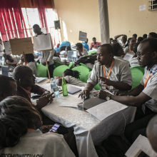 At a hack-a-thon in Uganda, participants formed 27 cross-disciplinary teams to come up with solutions related to nursing and midwifery.