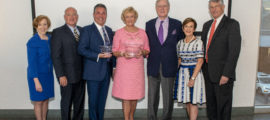 Pictured, from left, are Debbie Burke, RN, DNP, senior vice president for Patient Care and chief nurse; Dr. Chisari's husband, John Polk; R. Gino Chisari, RN, DNP; Ann and Desmond Heathwood; Jeanette Ives Erickson, RN, chief nurse emerita; and Brit Nicholson, MD, senior vice president for Development.