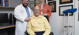 Pictured, from left, are Joshua Hirsch, MD, John MacDuffie and Karen MacDuffie, a long-time Mass General volunteer.