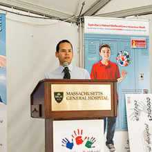 Miguel Rivera, MD, investigates the causes of childhood cancers with funding from Hyundai Hope on Wheels