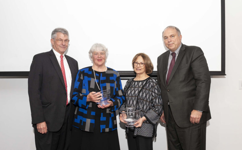 Celebrating the Carmella R. and Steven C. Kletjian Endowed Chair in Global Surgery are, from left, Britain W. Nicholson, MD, senior vice president for Development; inaugural incumbent Susan Miller Briggs, MD, MPH, FACS; Carmella Kletjian, president and founding director  of the Stephen C. and Carmella R. Kletjian Foundation; and Keith D. Lillemoe, MD, chief of Surgery.