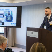 Kurt Power, a former Home Base patient and organizer of the No-Shave November campaign, spoke at A Toast to Our Fundraising Community.