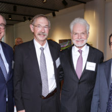 Celebrating the establishment of the Lancer Endowed Chair in Dermatology are, from left, Peter L. Slavin, MD; Rox Anderson, MD; Harold Lancer, MD and David Fisher, MD, PhD.