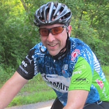 Cancer survivor Peter Latvis rode in the Pan-Mass Challenge while carefully monitoring his heart condition with the help of the Mass General Cardio Oncology Program.