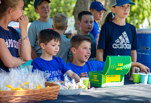 Patrick (foreground left) and Liam Doherty at Liam's Lemonade Stand. Liam, who has Crohn's disease, devotes proceeds to fighting the condition.