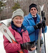 Andy and George Macomber enjoy pushing themselves physically and skiing despite their cardiac performance problems but they want to do it safely.