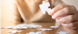 One difference between normal memory loss associated with aging and dementia is being able to complete tasks, like assembling a puzzle.