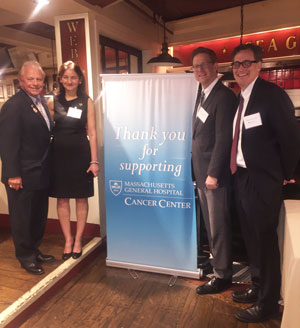 At the Union Oyster House (from left) owner Joe Milano; Noopur Raje, MD; David Ryan, MD, chief of Hematology-Oncology; and Timothy Graubert, MD, director of the Hematologic Malignancy Program.