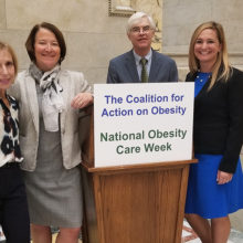 At the Massachusetts State House, the Coalition for Action on Obesity recently advocated for increased access to obesity treatment. (*See full caption below the story.)