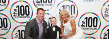 Celebrants at the one hundred gala for 2016 included, from left, honorees Nate Solder and Liam Fitzgerald and Dr. Jill Biden, second lady of the United States.