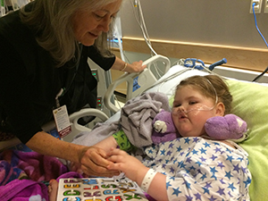 Patricia O'Malley, MD, with Zoe Meinen during a recent hospitalization.