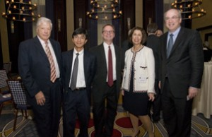 Mr. Jerome Lyle Rappaport, Phyllis and Jerome Lyle Rappaport Scholars, Eng Lo, PhD and Brian Bacskai, PhD, Honorary MGH President's Council Director Phyllis E. Rappaport, and Mass General President Peter L. Slavin, MD at the 2012 Annual Research Advisory Council Luncheon