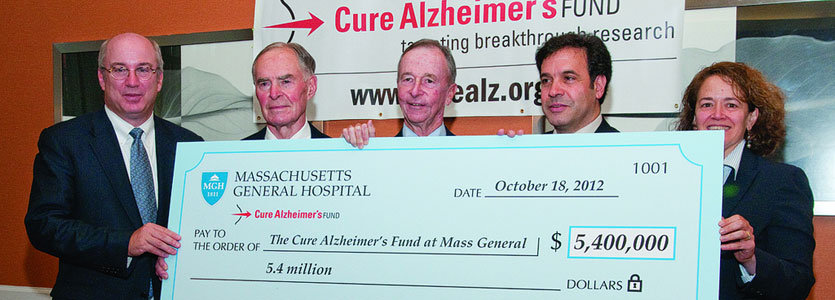Above, from left: Peter L. Slavin, MD, MGH president; Jeffrey L. Morby, chairman and cofounder of CAF; Henry F. McCance, co-founder of Cure Alzheimer's; Rudolph E. Tanzi, PhD, director of Mass General's Genetics and Aging Unit; and Merit E. Cudkowicz, MD, chief of MGH Neurology.