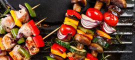 When grilling meat, balance your plate with vegetables, fruits and whole grains for a healthier meal.