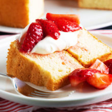 Pair some fresh strawberries with a slice of angel food cake for a light summer dessert.