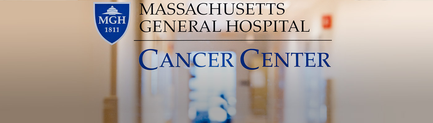 Mass General Cancer Center logo on a glace door