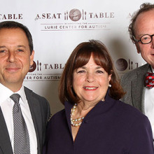 Sharing a moment at A Seat at the Table, are (from left), author Ron Suskind, celebrity cook Ina Garten and Christopher McDougle, MD, director of the Lurie Center for Autism.