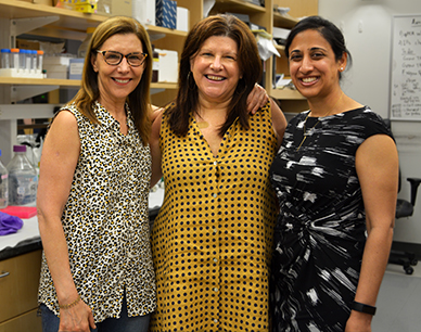 Pictured in Mass General's Bardeesy Lab are, from the left, Carolyn Berlutti, Lisa Sisco and Lipika Goyal, MD.