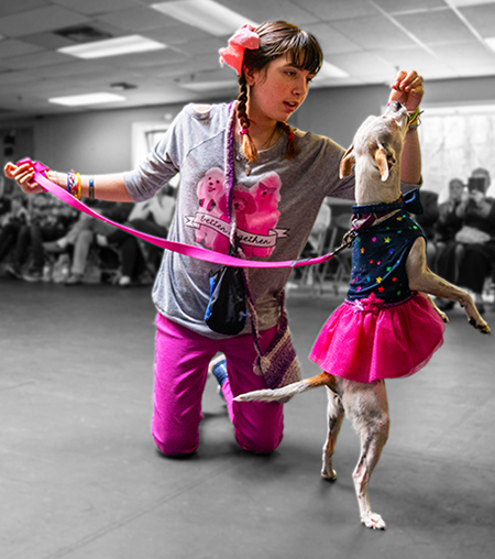Haley Osborn and her partner dog, Josie, wore coordinated outfits for their routine at the Doggonit show.