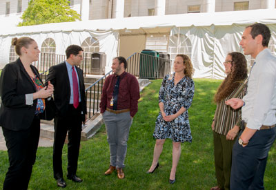 Others involved in expanding transgender health services include, from left: Katie Wolf; Alex Keuroghlian, MD, MPH; social worker Asher Bruskin, MSW; pediatrician Ariel Frey-Vogel, MD; Melanie Cohn-Hopwood, MSW; and Robert Goldstein, MD, PhD.