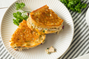 A tuna melt is one example of a dinner that can be made quickly from items kept on hand.